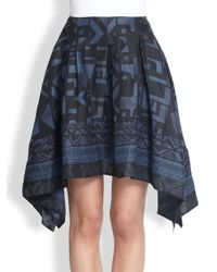 Donna Karan | Blue Scarfprint Draped Skirt | Lyst