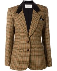 Rodarte | Brown Contrast Collar Check Blazer | Lyst