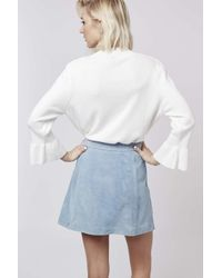 TOPSHOP | White Fluted Cuff Top | Lyst