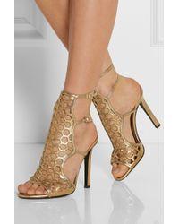 Tamara Mellon - Scandal Cutout Metallic Leather Sandals - Lyst