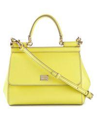 Dolce   Gabbana Small  Sicily  Tote in Yellow - Lyst 9fc205887cfa3
