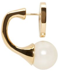Chloé - Metallic Gold And Pearl Darcy Round Earrings - Lyst