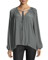 Ramy Brook - Gray Long-sleeve Ruched Paris Caftan - Lyst