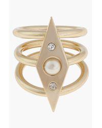 Rebecca Minkoff | Metallic Faux Pearl Stack Ring | Lyst