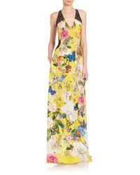 Roberto Cavalli - Multicolor Silk Deep-v Floral-print Gown - Lyst