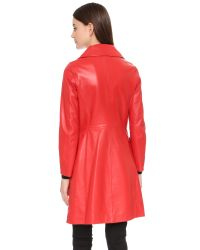 Boutique Moschino | Red Leather Trench Coat | Lyst