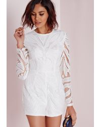 632a8ab2e32 Lyst - Missguided Long Sleeve Lace Playsuit White in White