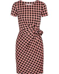 Diane von Furstenberg - Pink Zoe Printed Silk-jersey Mini Dress - Lyst