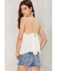 Nasty Gal - Natural Cliffside Embroidered Cami Top - Lyst