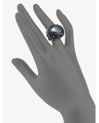 John Hardy - Metallic Bamboo Hematite, White Quartz, Black Spinel & Sterling Silver Dome Ring - Lyst