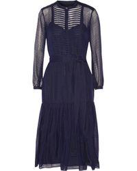 Burberry Prorsum - Blue Striped Wool And Silk-Blend Midi Dress - Lyst