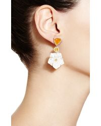 Nina Runsdorf | Orange 18k Mother Of Pearl Yellow Sapphire and Mexican Fire Opal Earrings | Lyst