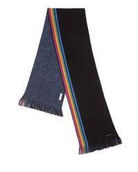 Paul Smith | Black Stripe & Fringe Trim Wool Scarf for Men | Lyst