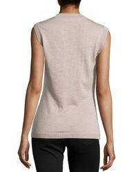 Carolina Herrera - Multicolor Animal Jacquard Knit Cashmere Shell - Lyst