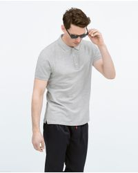 Zara | Gray Piqué Polo Shirt for Men | Lyst