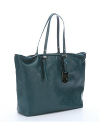 Longchamp - Green Leather Logo Embossed 'lm Cuir' Medium Tote - Lyst