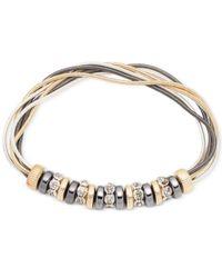 Nine West - Metallic Tri-tone Multi-strand Stretch Bracelet - Lyst