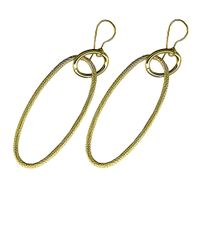 Lord & Taylor | 14 Kt. Yellow Gold Textured Oblong Drop Hoops | Lyst