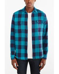 Stapleford | Blue Herringbone Buffalo Plaid Flannel Workshirt for Men | Lyst