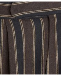 Etro - Brown Stripe Turn Up Trousers - Lyst