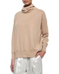 Brunello Cucinelli - Brown Cashmere Oversized Turtleneck Sweater - Lyst