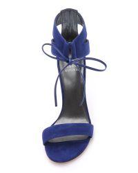 Stuart Weitzman | Blue Tynela Ankle Tie Sandals - Black | Lyst