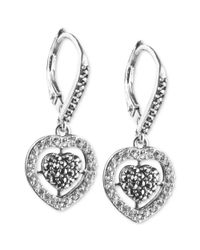 Judith Jack | Metallic Sterling Silver Crystal and Marcasite Heart Drop Earrings | Lyst