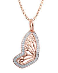 Lord & Taylor | Pink Butterfly 18K Rose Gold Plated Pendant Necklace | Lyst