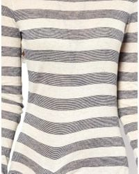 Free People | Gray Dress in Striped Jersey with Side Split | Lyst