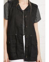 Forever 21 - Black Linen Utility Vest - Lyst