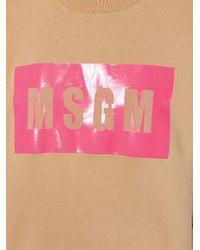 MSGM - Natural Logo Print Sweatshirt - Lyst