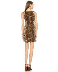 Shoshanna - Brown Silk-Blend Leopard Print Dress - Lyst