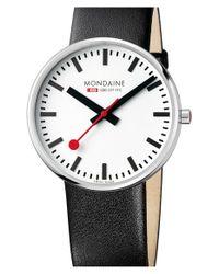Mondaine - Black '(evo)lution' Leather Strap Watch - Lyst