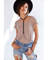 Urban Outfitters   Black Leather  Chain Body Chain Harness   Lyst