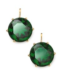 Lauren by Ralph Lauren - Green 14k Goldplated Faceted Emerald Glass Stone Drop Earrings - Lyst