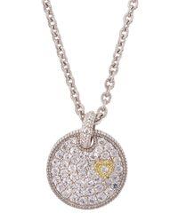 Judith Ripka - Metallic Pav White Sapphire Heart Disc Necklace - Lyst
