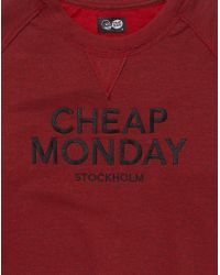 Cheap Monday - Red Sweatshirt With Logo Print for Men - Lyst