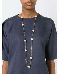 Tory Burch | Metallic Logo And Pearl Necklace | Lyst