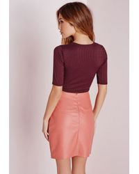 Missguided - Purple Rib Wrap Front Crop Top Burgundy - Lyst