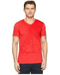 Calvin Klein - Red Ck One Allover Front Graphic V-Neck T-Shirt for Men - Lyst