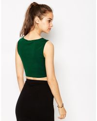 Daisy Street - Green Crop Top With Cut Out Neckline - Lyst