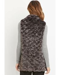 Forever 21 | Brown Contemporary Faux Fur Longline Vest | Lyst