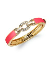 Juicy Couture - Brasstone Pave Link Red Hinge Bangle Bracelet - Lyst