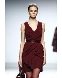 The 2nd Skin Co. | Red Draped Crepe Mini Dress | Lyst