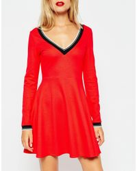 ASOS | Red V Neck Ponti Skater Dress With Trim Detail | Lyst
