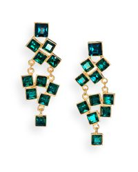 Kenneth Jay Lane | Square-Cut Cluster Chandelier Earrings/Green | Lyst