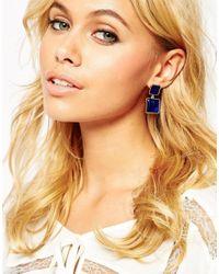 ASOS | Blue Oversize Stone Drop Earrings | Lyst
