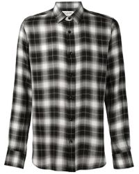 Saint Laurent - Black Classic Plaid Shirt for Men - Lyst