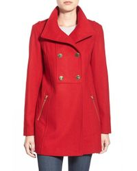 Guess - Red Double Breasted Wool Blend Swing Coat - Lyst