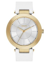 DKNY | Metallic 'stanhope' Leather Strap Watch | Lyst